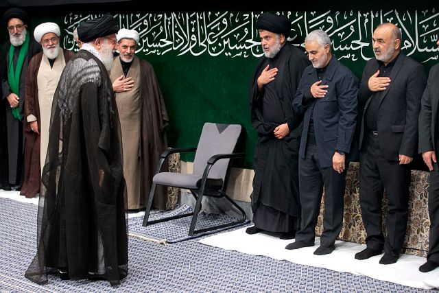 Hossein Salami, commander of Iranian Revolutionary Guard; Qasem Soleimani, commander of the Guard's Quds force; and Muqtada al-Sadr, leader of Iraq's Shiite Sadrist Movement, salute Supreme Leader Ali Khamenei