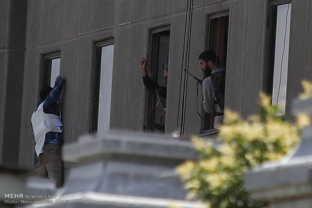 A scene from the attack on the Iranian Parliament