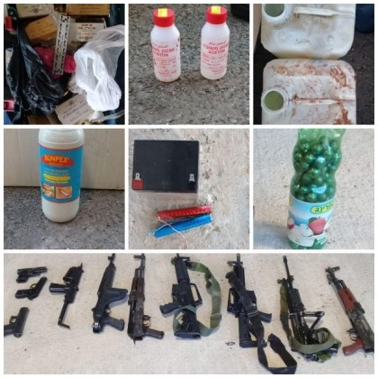 Guns and bomb-making equipment