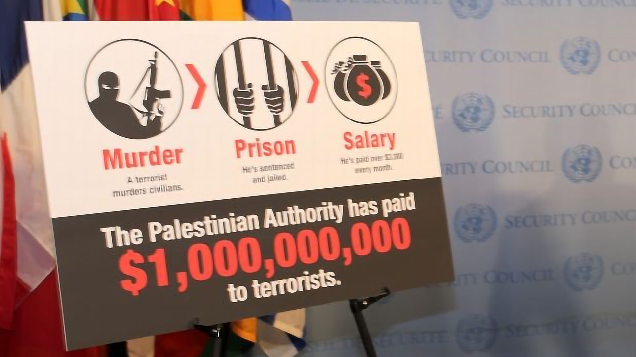 Poster from Israeli UN Ambassador Danny Danon's presentation on payments to Palestinian terrorists, May 11, 2017