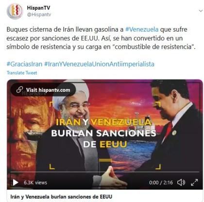 Iran-Venezuela tweet