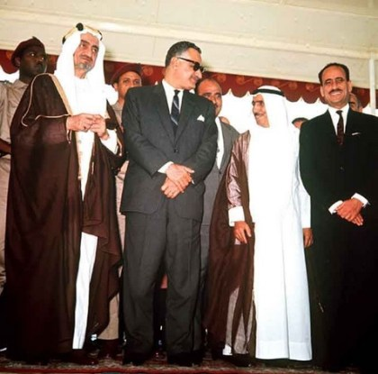 The 1967 Arab League Summit in Khartoum led by (from the left) King Faisal of Saudi Arabia, Gamal Abdel Nasser of Egypt, and leaders from Yemen, Kuwait, and Iraq.