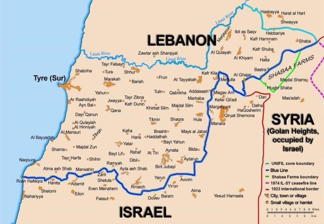 Israeli communities along the Israeli-Lebanon border