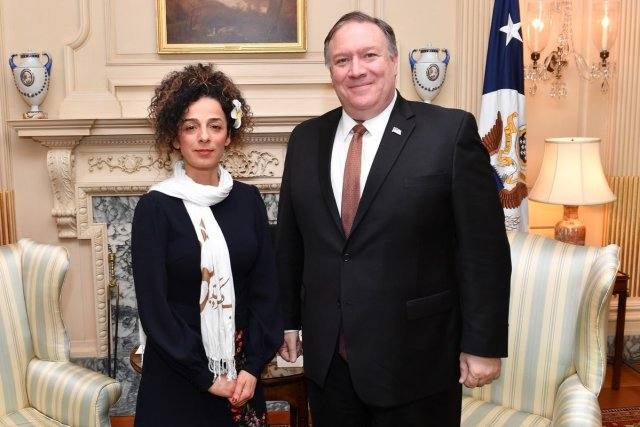 Human rights activist Masih Alinejad and Secretary of State Mike Pompeo