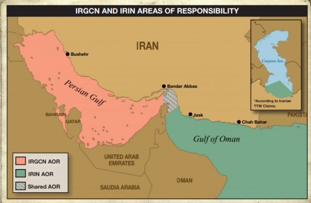 A map showing the traditional roles played by Iran's Revolutionary Guard Navy and the Iranian Navy.
