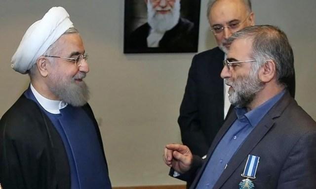 Iranian JCPOA negotiator Salahi in the back with Rouhani and Fakhrizadeh