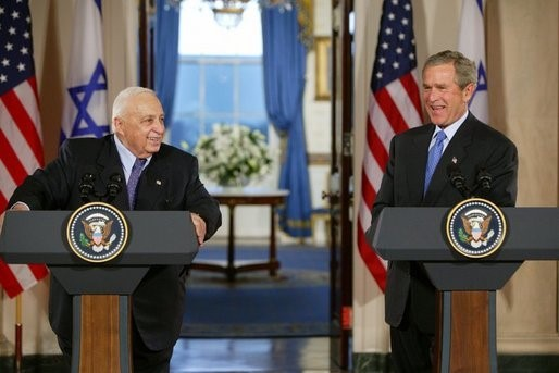 President George W. Bush and Israeli Prime Minister Ariel Sharon