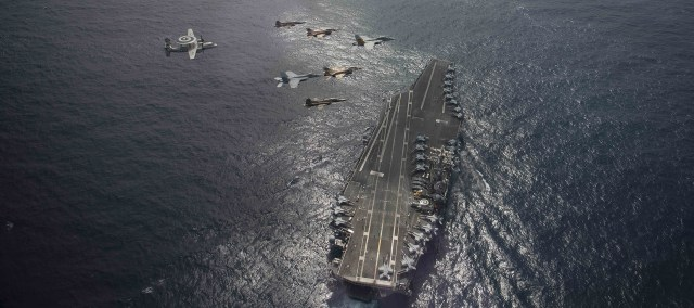Moroccan aircraft in a joint exercise with planes from the USS Eisenhower carrier on March 4, 2021