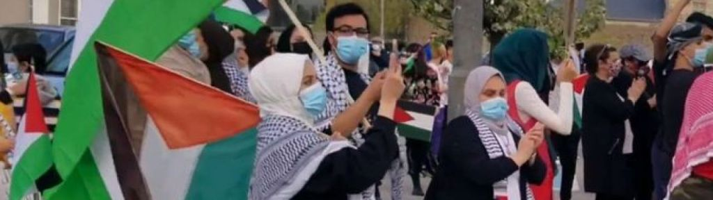 """Milton protest: """"We'll sacrifice our soul and blood for Qassam [Brigades of Hamas]"""""""