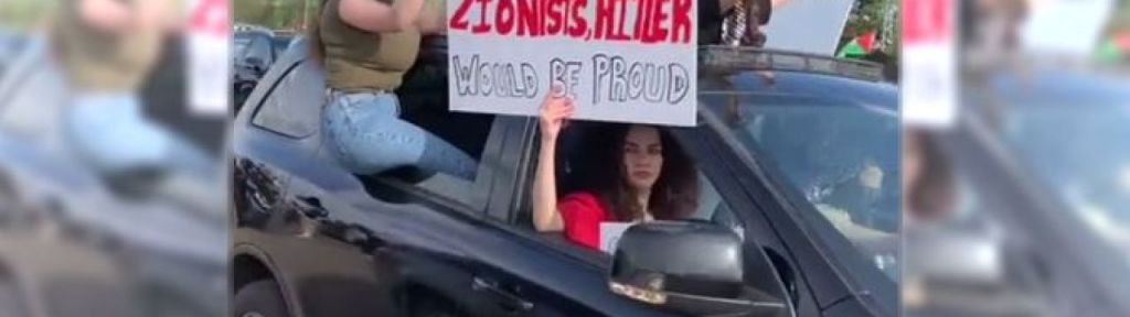"""Pro Palestinian sign in Edmonton: """"Well done Zionists, Hitler would be proud"""""""