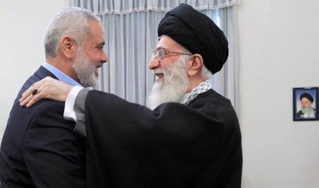 Iran's Supreme Leader Khamenei embraces Hamas leader Ismail Haniyeh