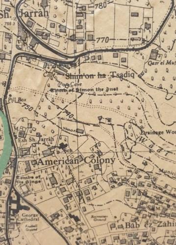Map of Jerusalem showing Sheikh Jarrah