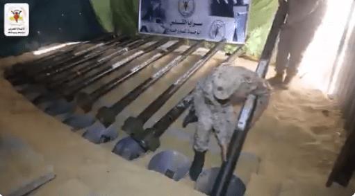 Islamic Jihad fighters loading underground rocket silos