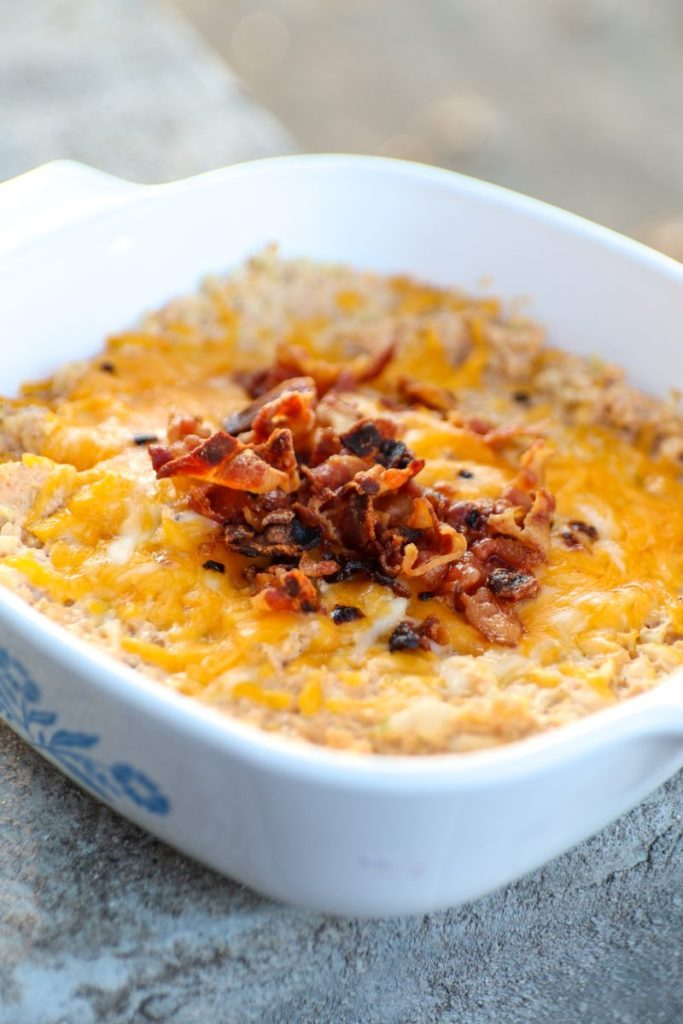 Cheesy Riced Cauliflower With Bacon