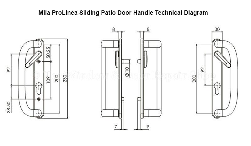 mila inline sliding patio door handles prolinea