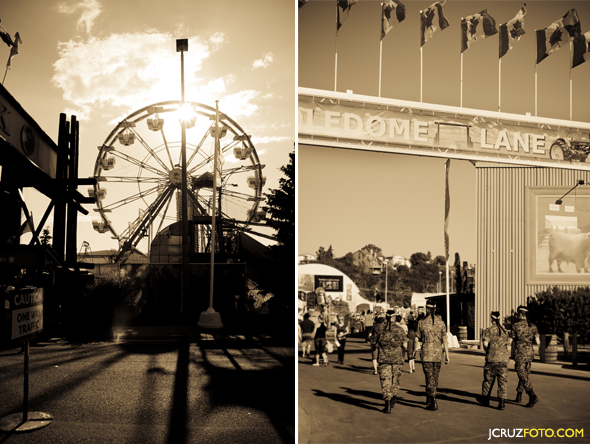 Ferris wheel and soldiers at the Stampede