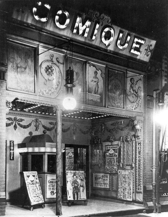 A nickelodeon theater in Toronto, Ontario, Canada, circa 1910 (Source: Wikipedia)
