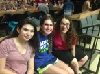 Roz, Sarah, and Gabi hang out while waiting their turn to bowl!