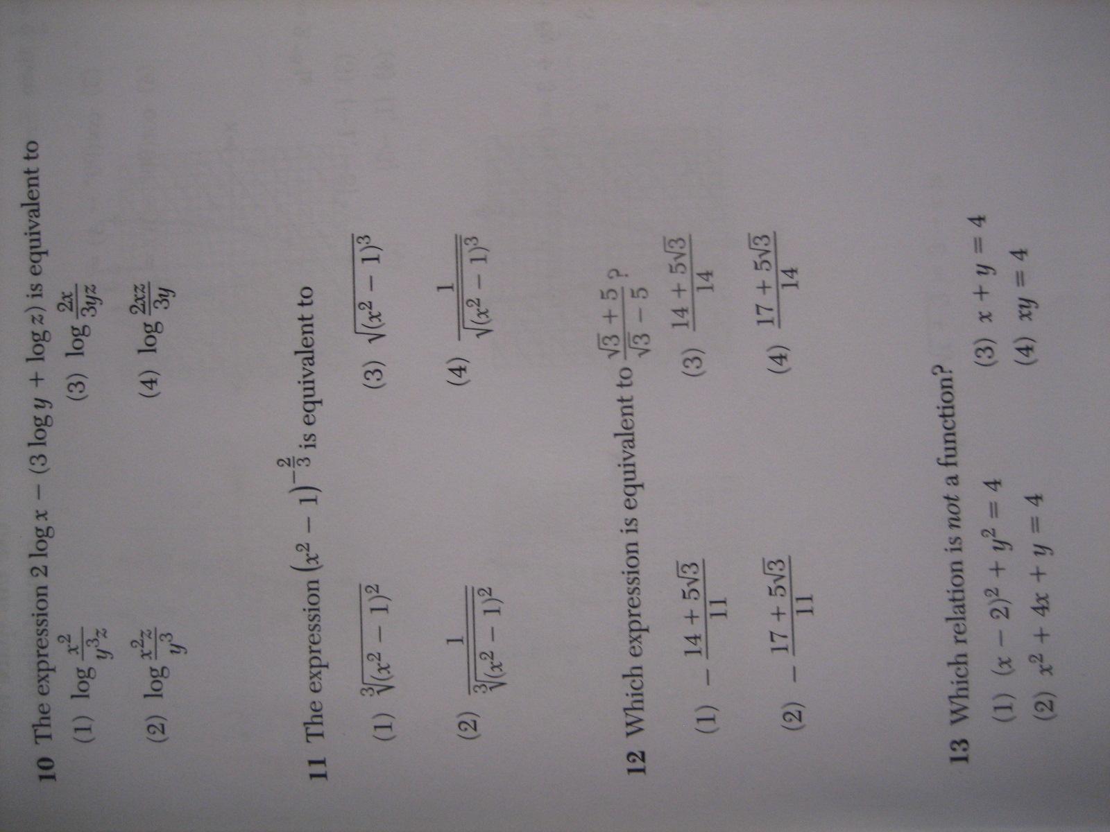 Algebra 2 Trigonometry Regents Full List Of Multiple