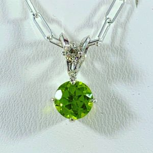 Pendant - Peridot and diamond Pendant