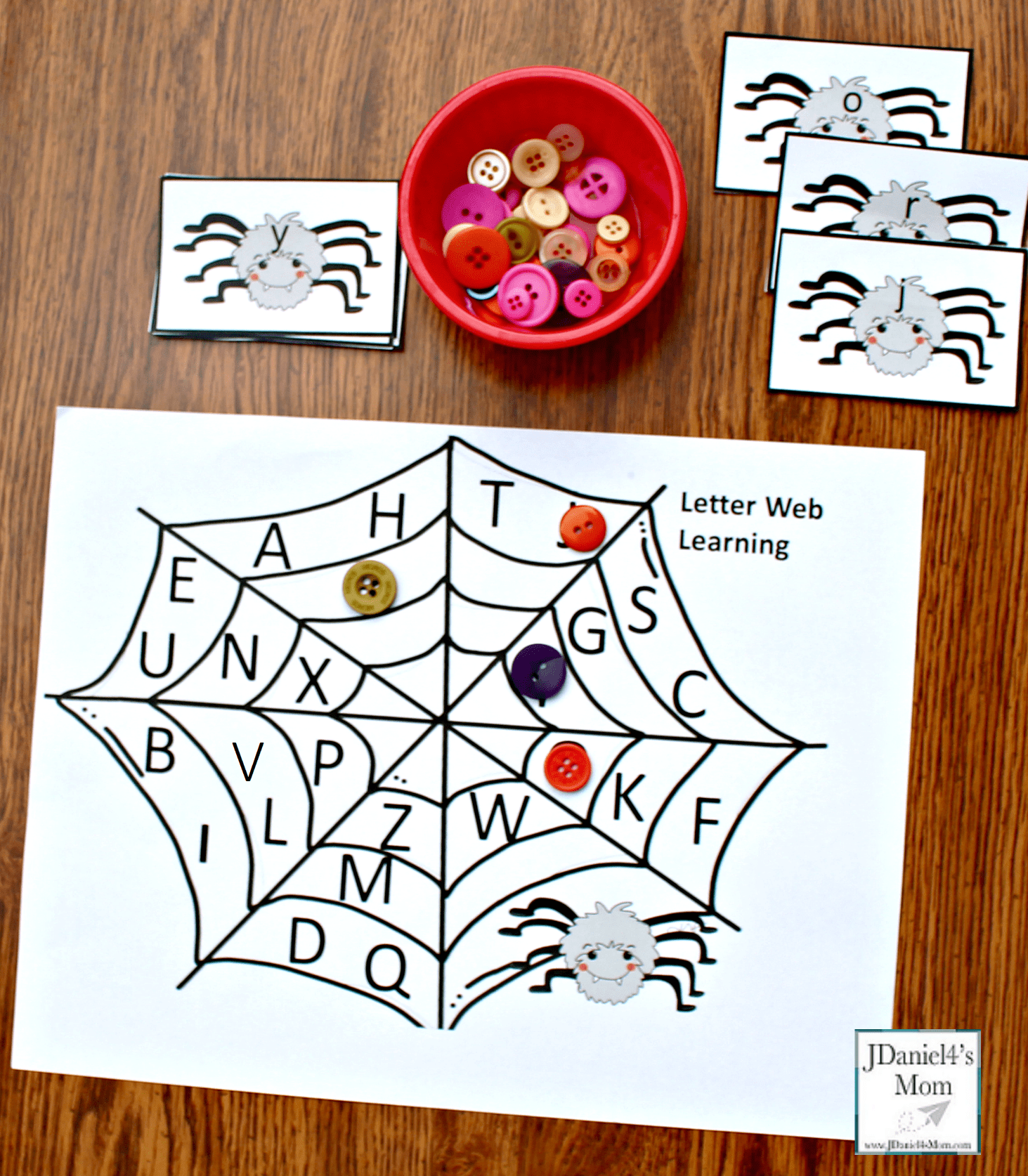 Alphabet Match Game With A Spider Theme