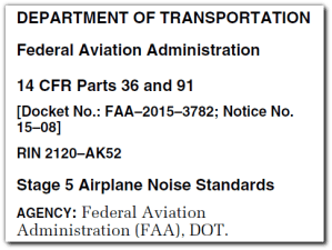 FAA proposes Stage 5 aircraft noise certification