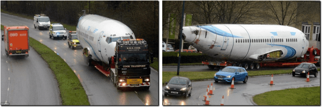 Huge 125ft long fuselage of a new Boeing 737 jet being transported along British roads