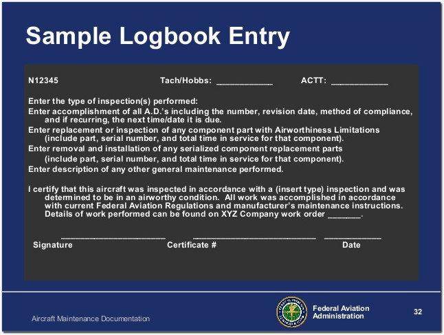 faa logbook entry