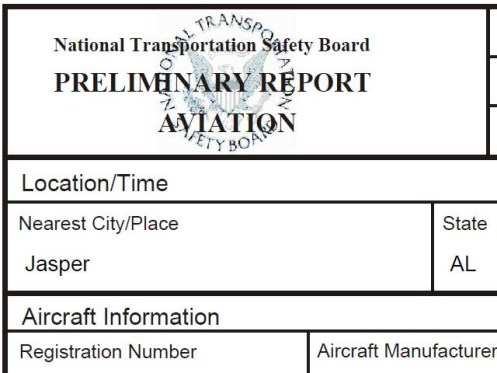 ntsb preliminary report aviation accident investigation