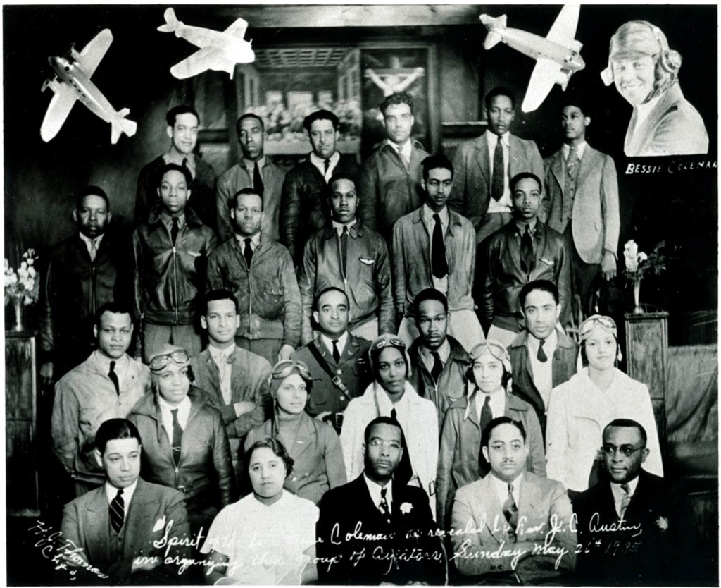 black pilots at Pilgrim Baptist Church in Chicago, Illinois to plan a flyover of Bessie Coleman's grave