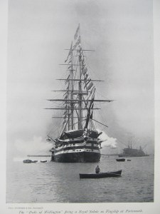 HMS Duke of Wellington, launched at Pembroke Dock in 1852 as the Windsor Castle; the Duke died on the day of the launch, so she was renamed after him