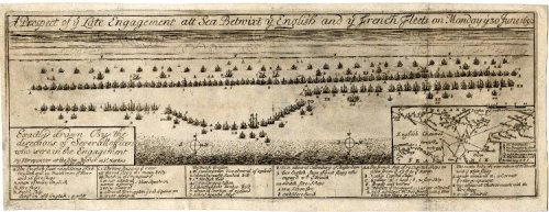 Contemporary illustration of the Battle of Beachy Head, 30 June 1690 (known to the French as Beveziers)