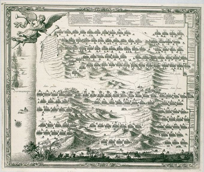 Battle of the Dunes - note the Commonwealth squadron off the coast
