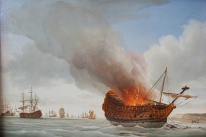 The aftermath of the battle of Beachy Head, 1690: Richard Endsor's painting of the burning of the third rate Anne at Pett level, where her remains can still be seen