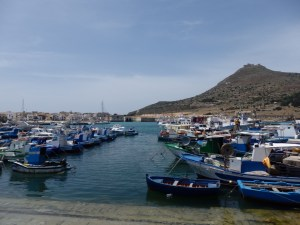 Favignana, with the castle in the background and not a massacred tuna in sight