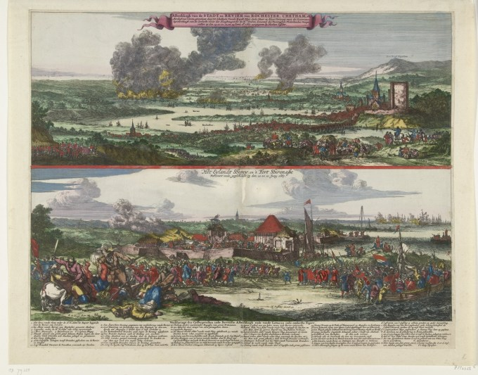 Willem Schellinks' drawings of 'the Dutch in the Medway' (top) and the capture of Sheerness fort