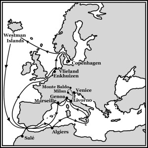 Routes of Olafur Egilsson's travels