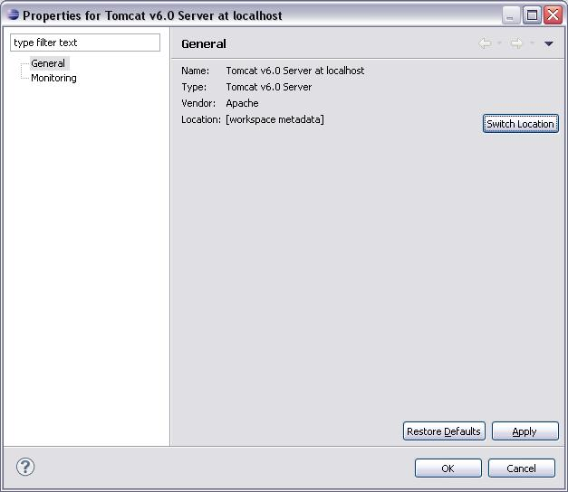 Eclipse WTP - Server Properties - Switch Location 2