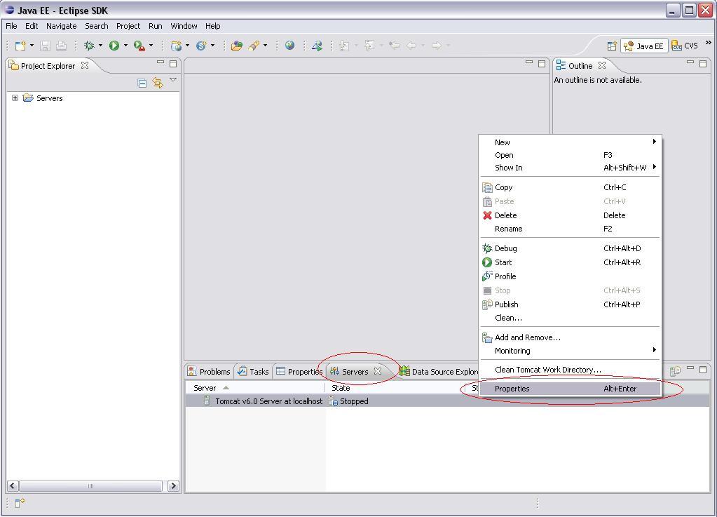 Eclipse WTP - Server Properties