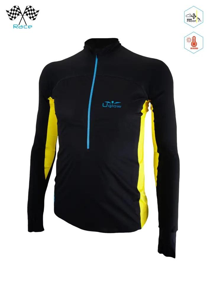 Camiseta Térmica de Hombre con Membrana Uglow Con cremallera 34ZIP3 Negra/Amarilla)