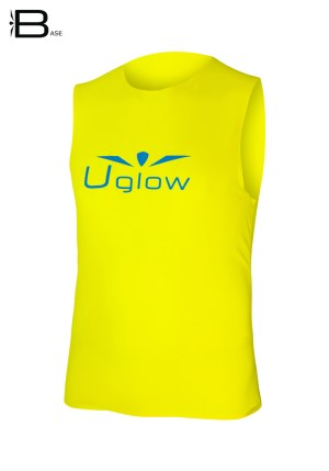 Camiseta para correr sin mangas para hombre, Uglow Base Amarillo,
