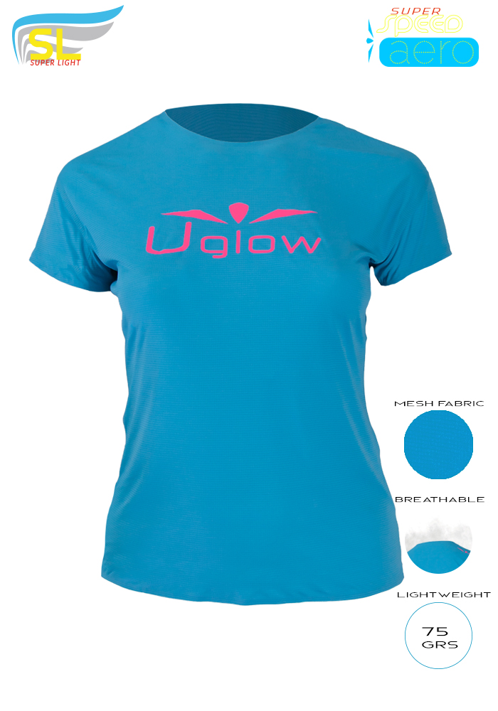 Camiseta trail running mujer, 75 gramos, Uglow Super Speed Aero, Azul/Rosa TS1