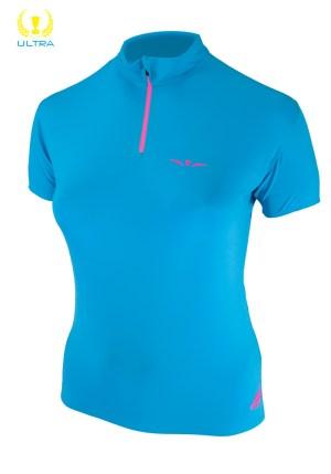 Camiseta manga corta trail running técnica con cremallera para mujer, Uglow, Zip1 Azul/Rosa