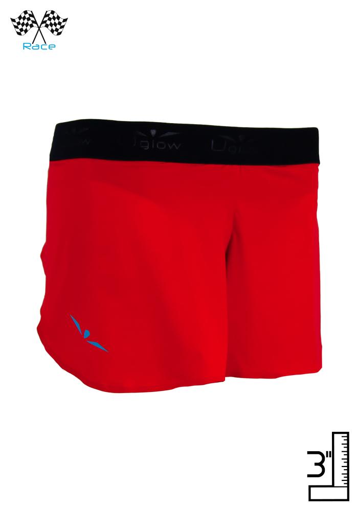 Short 3' running técnico, ligero y sin costuras para correr mujer Uglow SL S4 Rojo/Azul