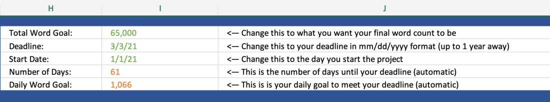 A close up of the variables you need to change on the deadline tracking spreadsheet.