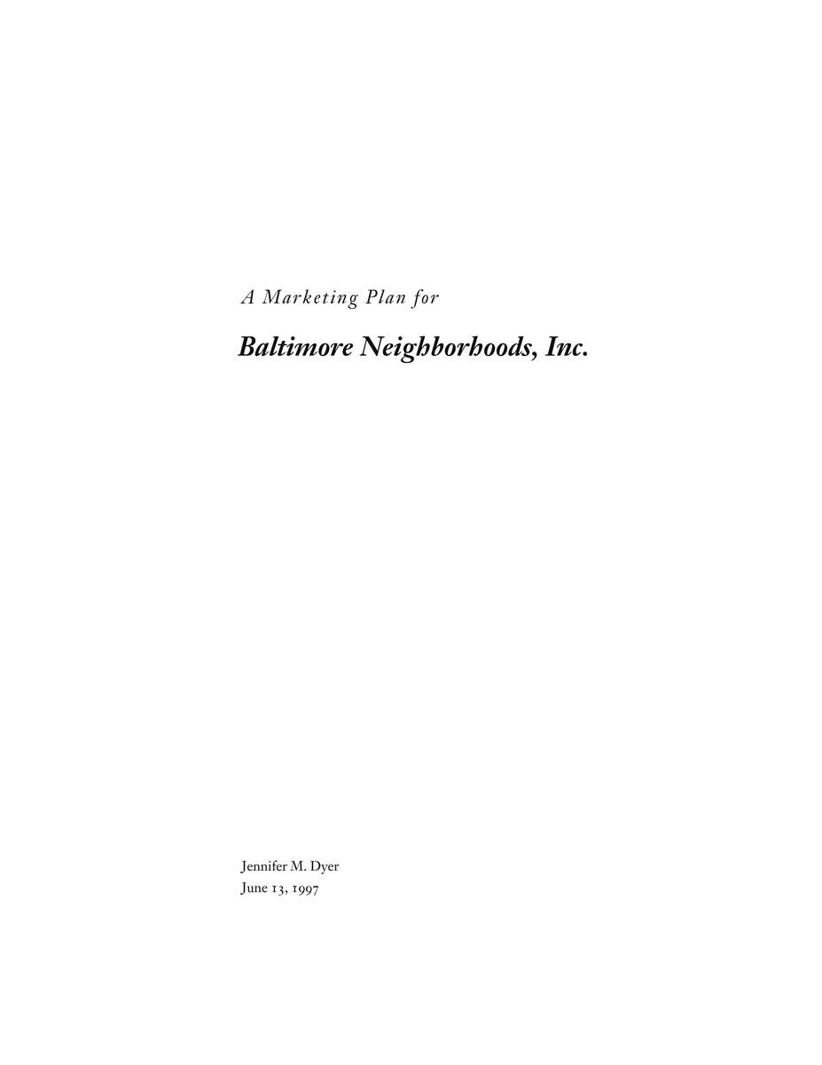 Baltimore Neighborhoods, Inc., Marketing Plan