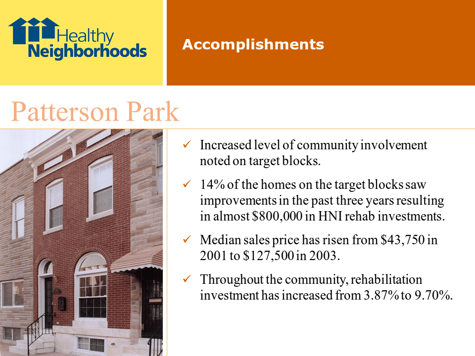 Healthy Neighborhoods, Inc., presentation