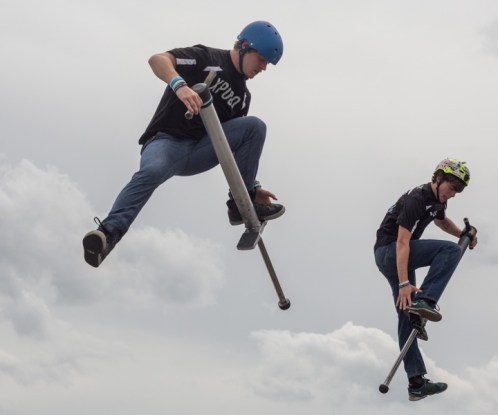 The Pogo Pros put on a synchronized performance during the Charlotte Motor Speedway Auto Show in Concord, NC on April 10, 2015.