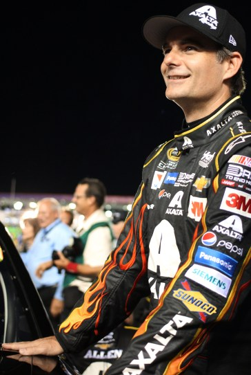 Sprint Cup Series driver Jeff Gordon (24) before the start of the All-Star Race at the Charlotte Motor Speedway in Concord, NC on Saturday May 15, 2015.