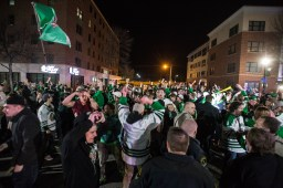 Happy fans after a championship win by UND.